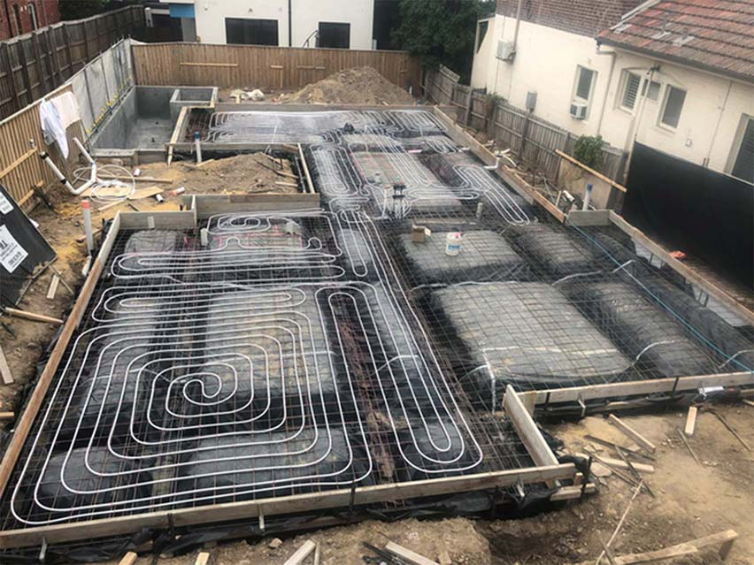 slab heating installation
